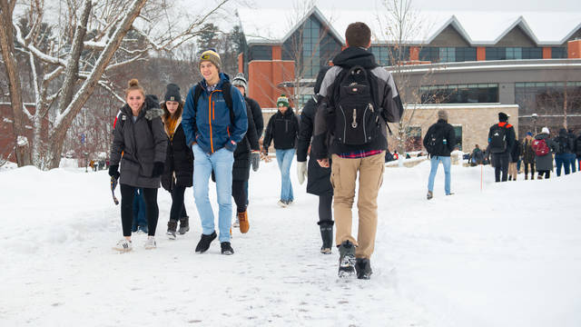 Davies Center and students on winter day