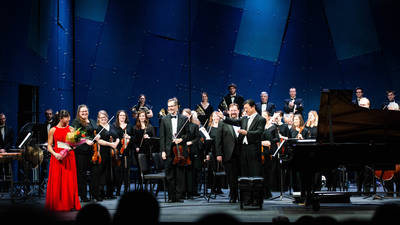 Nobuyoshi Yasuda and the Chippewa Valley Symphony in February 2020 (Photo credit: Mark Oliver)