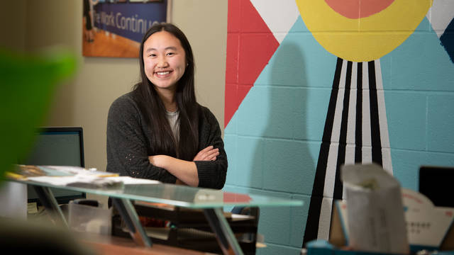 As an intern, Mai Yer Yang is helping Blugold Beginnings plan the Eighth Grade Tour Day in April, an event meant to inspire area youth to consider college.