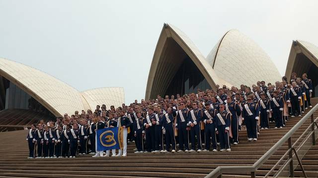 Blugold Marching Band outside Sydney Opera House