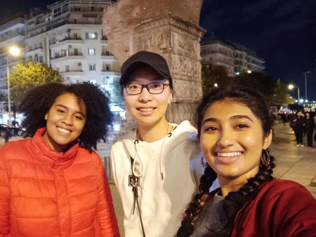 Ariel Liu (center) is an applied mathematics major at UW-Eau Claire from China, who spent the fall semester studying abroad in Greece.