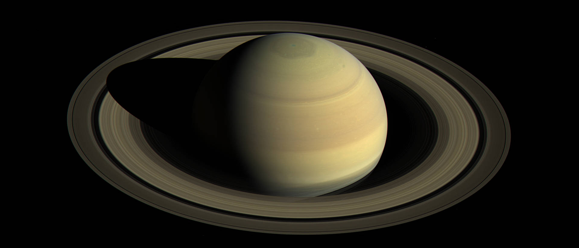 This image of Saturn's northern hemisphere was taken by Saturn's wide-angle camera at a distance of 1.9 million miles. (Photo credit: NASA)