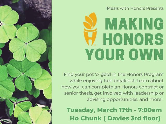 Meals with Honors Make Honors your Own poster