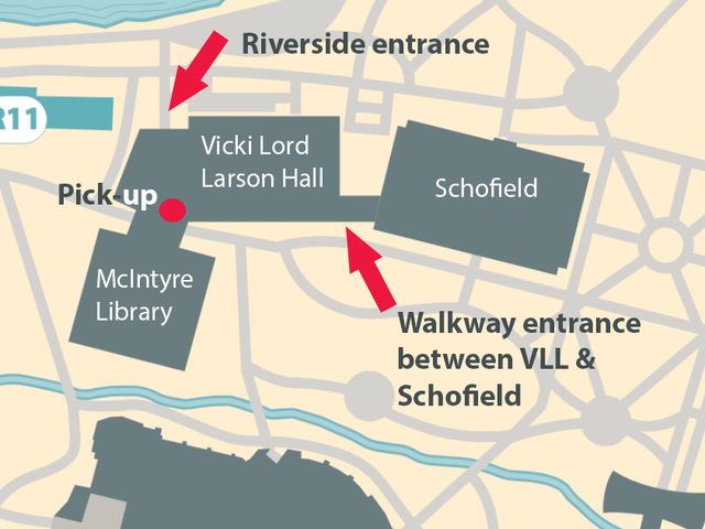 Map of McIntyre Library entrances