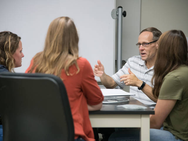 Dr. Doug Dunham, director of UW-Eau Claire's Materials Science and Engineering Center, is working with Mayo Clinic physicians and a community makers group to produce face shields for area hospitals during the COVID-19 crisis.