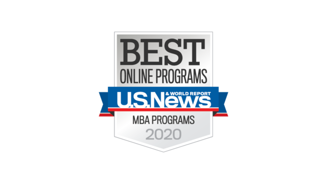 "Badge displaying ""Best Online MBA Programs 2020"""