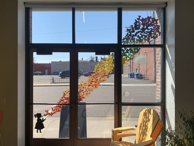 Staff at Blue Hills Chiropractic in Rice Lake decorated their window with hearts to show solidarity with the community. (Photo by Jodi Kiffmeyer.)