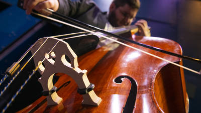 A cello from the ground up toward players hands and face