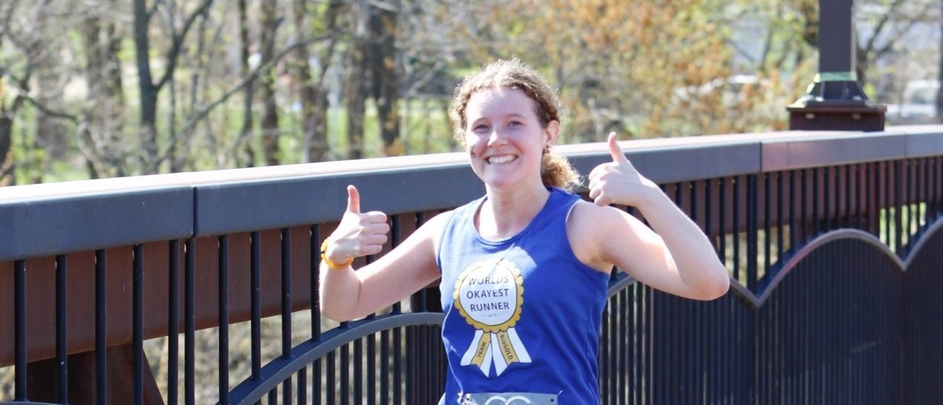 Olivia Jonasen finishes the Eau Claire marathon
