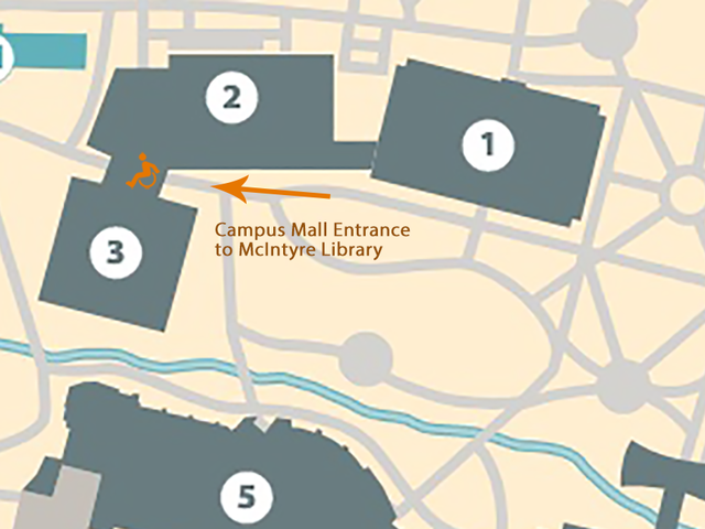 Map of mall entrance to McIntyre Library, at the western end of the Campus Mall