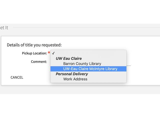 UW-Eau Claire McIntyre Library is selected as the local pick up selection in Library Search
