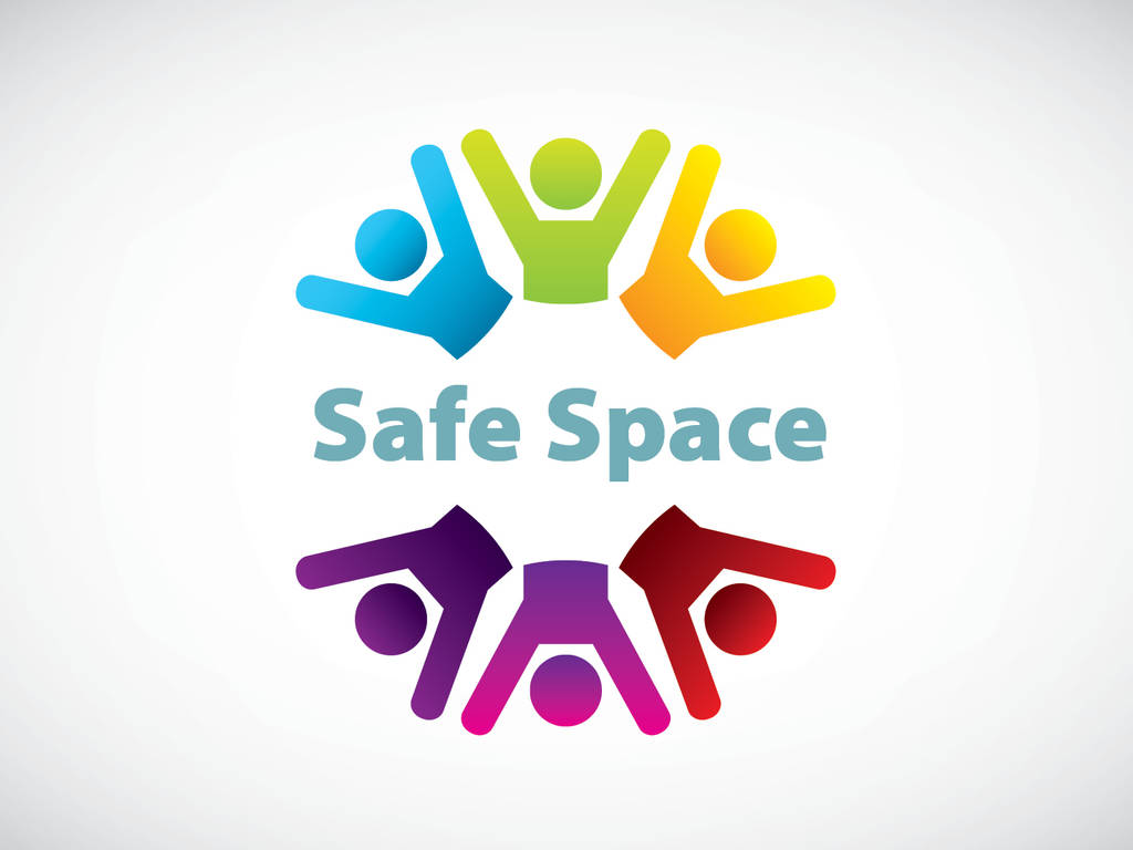 Safe Space graphic with rainbow outlines of people
