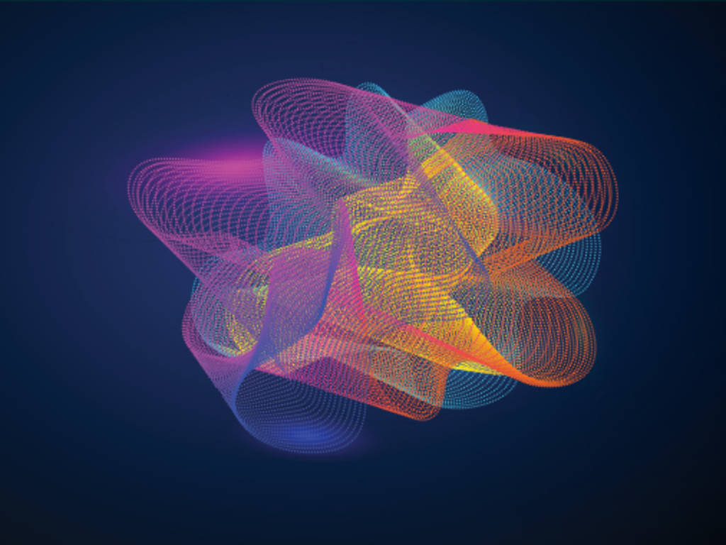 multi colored swirling lines on a dark background