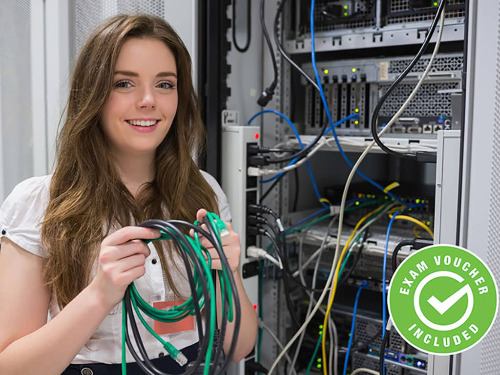 Woman holding cables while working on server