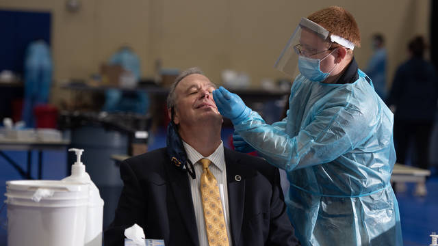 Chancellor James Schmidt received an antigen test for COVID-19 this week on campus similar to what all students in residence halls at UW-Eau Claire will undergo on a rotating schedule. The chancellor's test was negative.