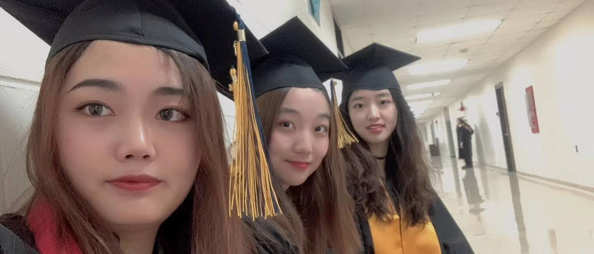 Changshu Institute of Technology graduates, from left, are Ruiyu Li, Yumeng Zhou and Hongyu Zhao.