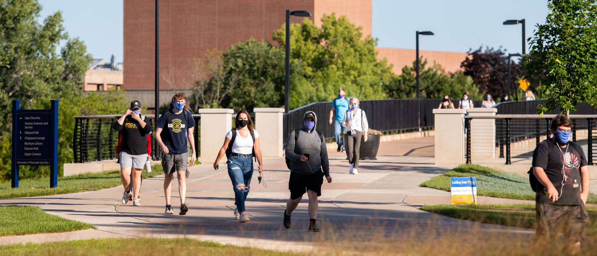 Students walking to class in masks on first day