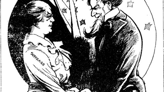 A political cartoon with Uncle Sam and a woman representing women's suffrage, holding hands.