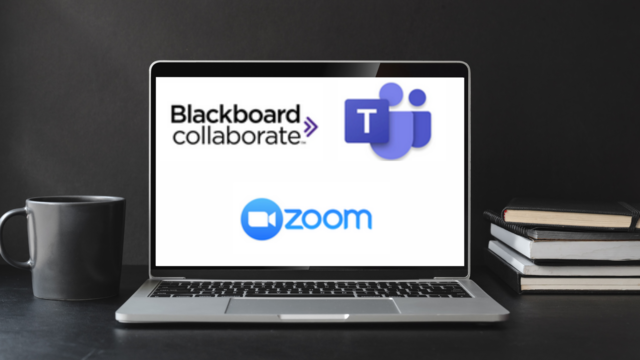 Microsoft Teams, Blackboard Collaborate Ultra, and Zoom Web Conferencing Tools Logos