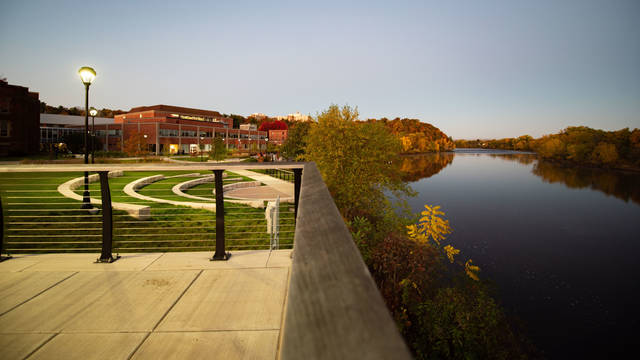 Chippewa River and campus buildings 2020