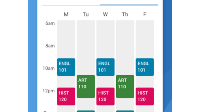 A visual depiction of the Schedule Viewing function of the Navigate Student app.