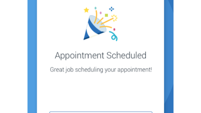 A screenshot of the appointment scheduling function for the Navigate Student app.