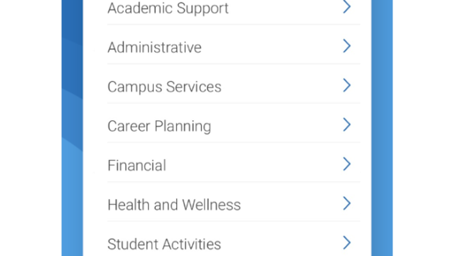 A screenshot of the resource center in the Navigate Student app.