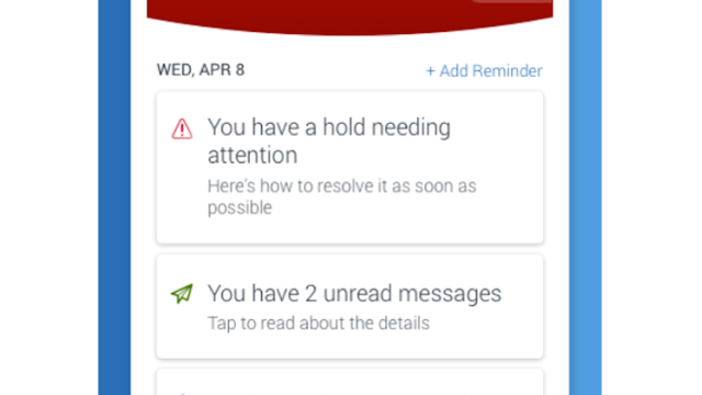 A screenshot of the alert and to-do function of the Navigate Student app.