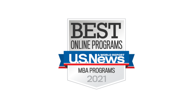 "Badge displaying U.S. News and Report's award of ""Best Online MBA Programs"""