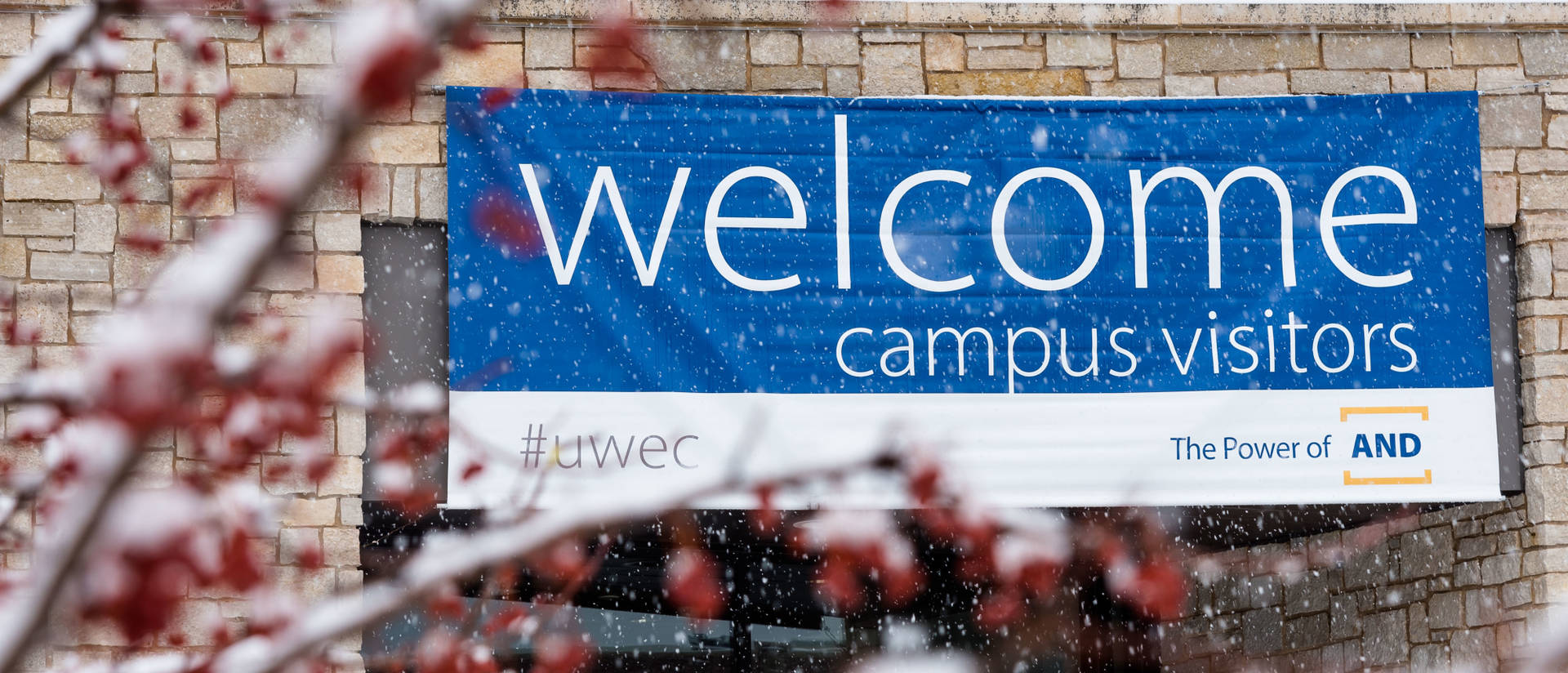 Sign on Davies Center welcoming visitors