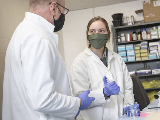 Dr. Doug Matthews and Quinn Petersilka, a freshman research assistant, are collaborating with Mayo Clinic on research about the effects of alcohol on aging brains.