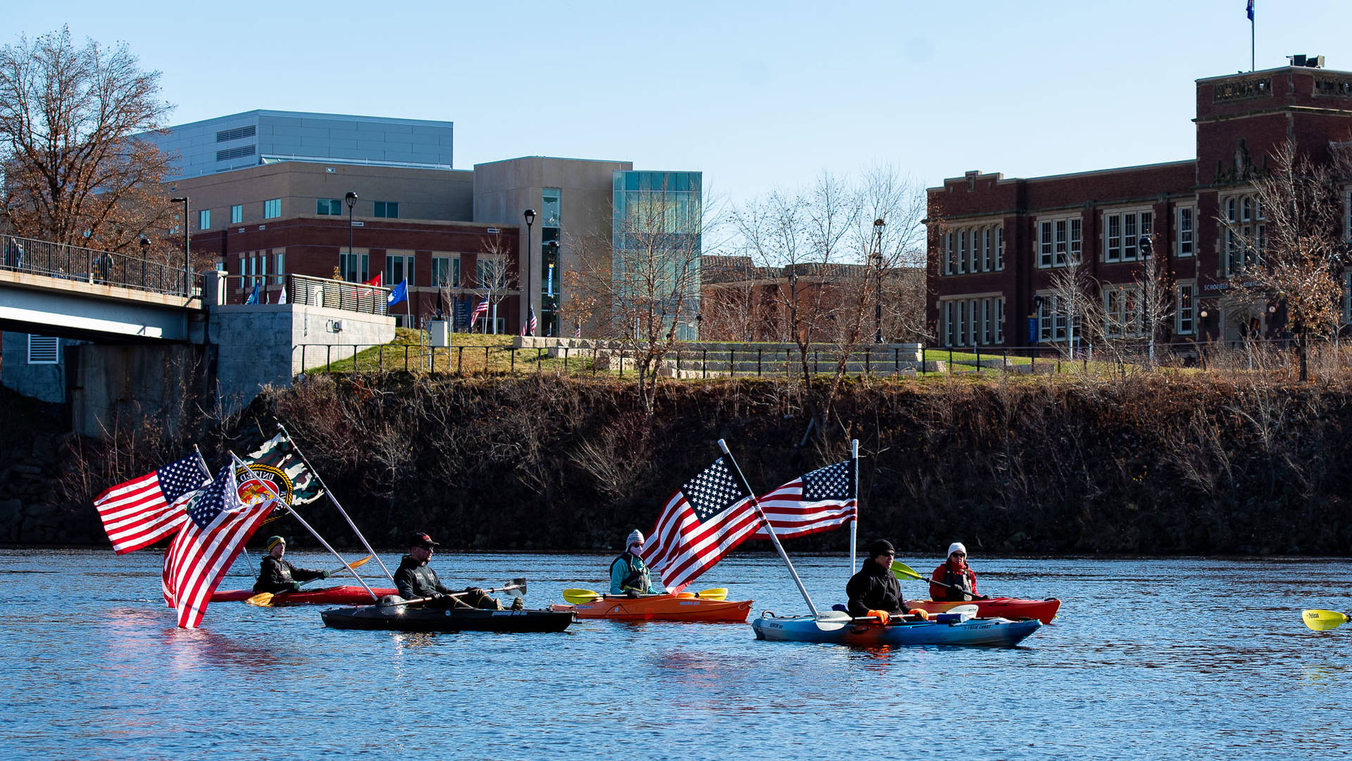 Boats with American flags on Chippewa River
