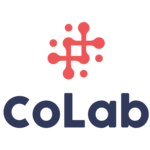 blue and red graphic logo for CoLab