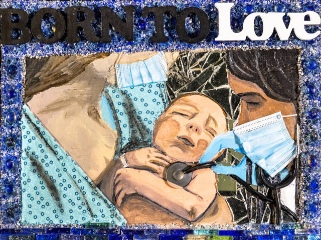 Born to Love mixed media artwork created by Tom Burgraff