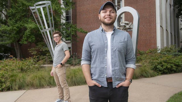 UW-Eau Claire student researchers Aaron Ellefson, right, and Cuyler Monahan participated in student-faculty research to develop a clinical foam to protect cancer patients during treatment.