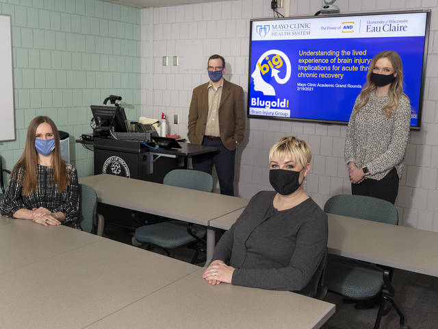 Undergraduate and graduate students in UW-Eau Claire's communication sciences and disorders programs assisted Blugold Brain Injury Group members in developing a presentation for Mayo Clinic Health System providers.