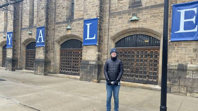 Tyler Gonzales on the Yale campus