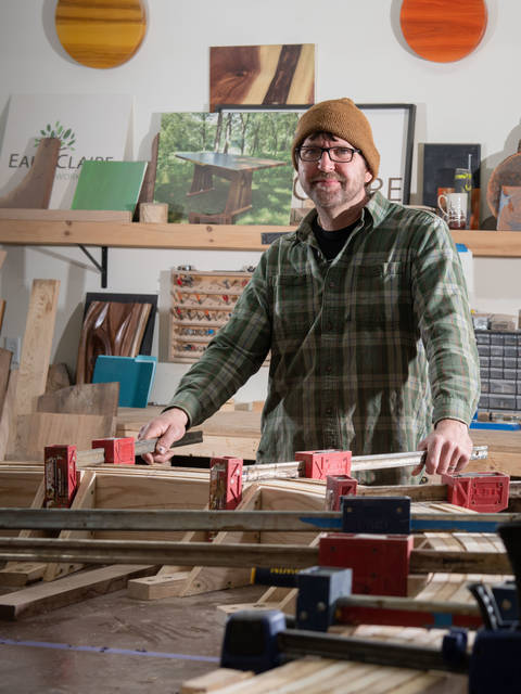 Tim Brudnicki in his Eau Claire Woodworks studio