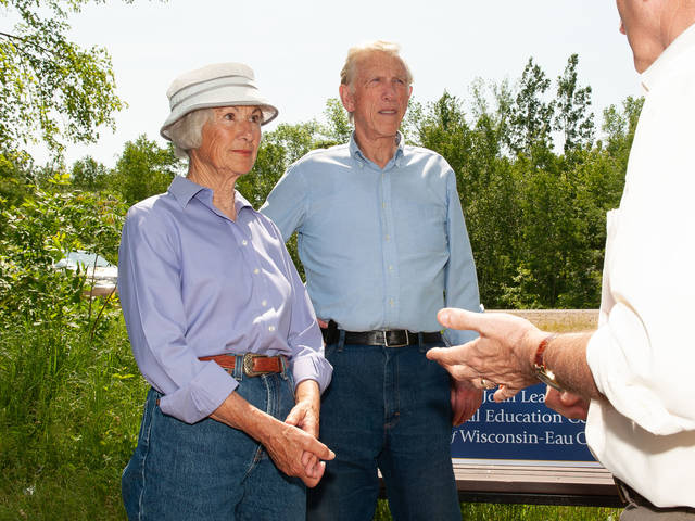 Joan and Jim Leary at the 2011 of the Leary Family Environmental Education Center on lower campus.