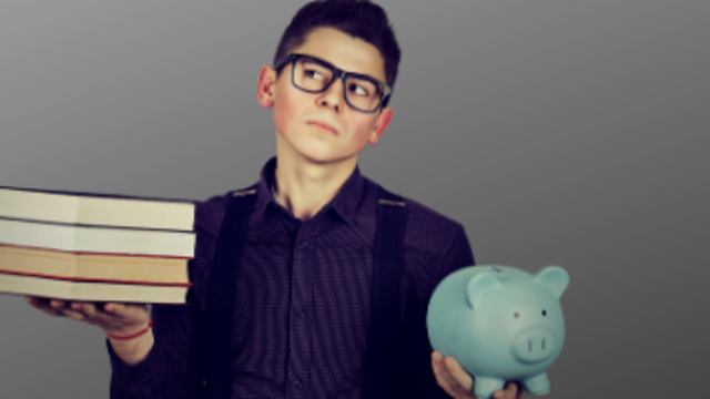 Student with stack of books and piggy bank