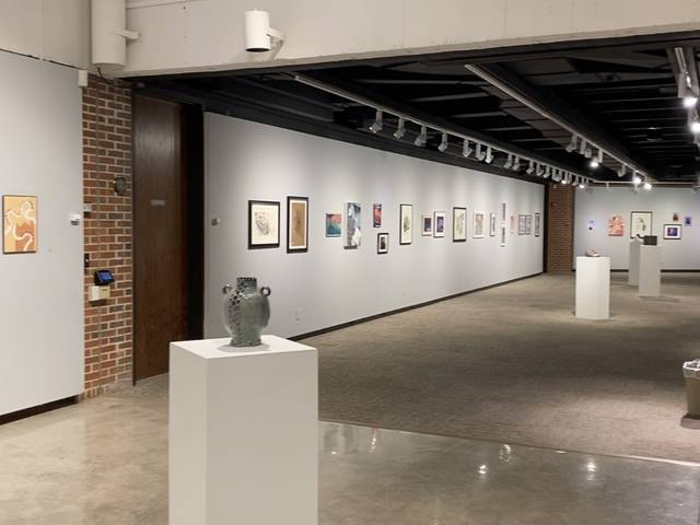 Student artwork installed in the Foster Gallery