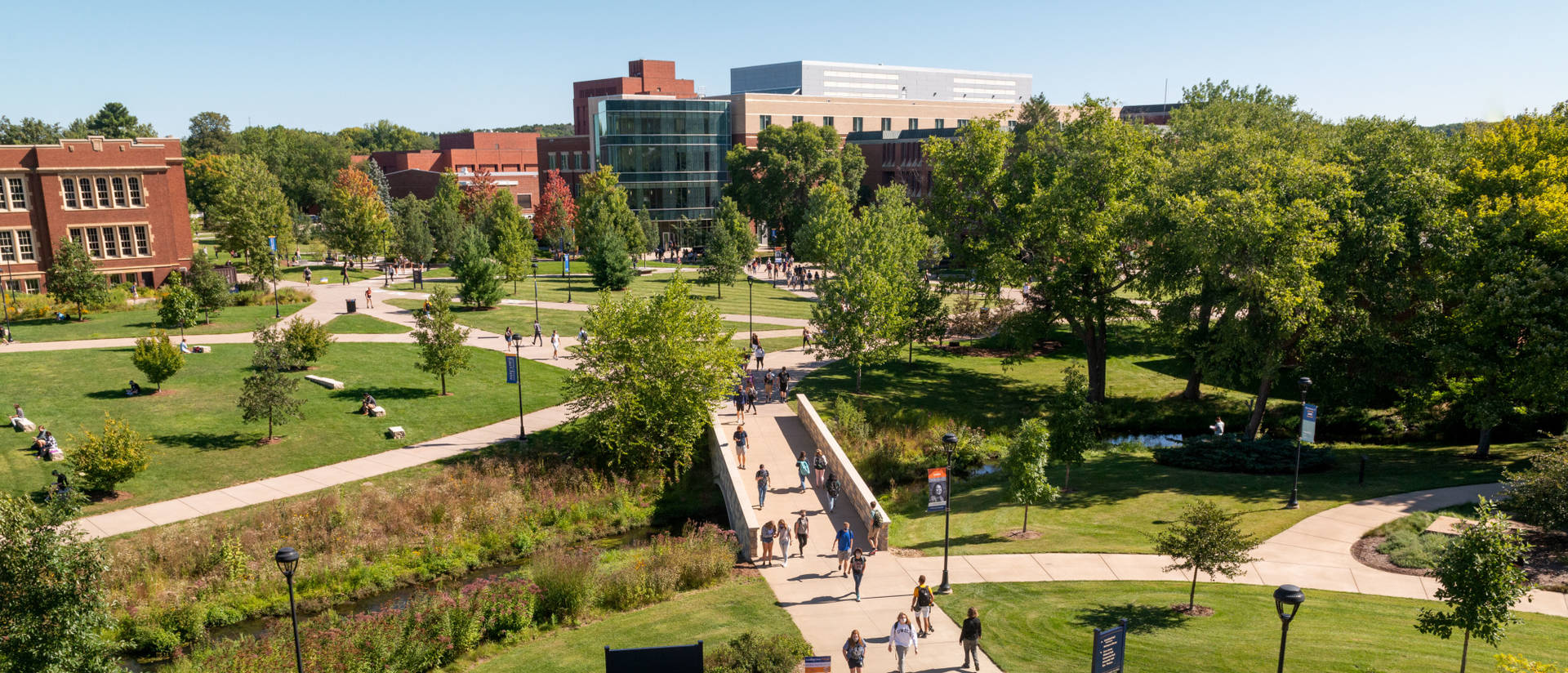 Campus mall on sunny day