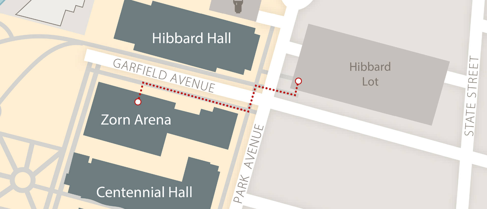 A map showing the short distance from the Hibbard parking lot to Zorn arena.