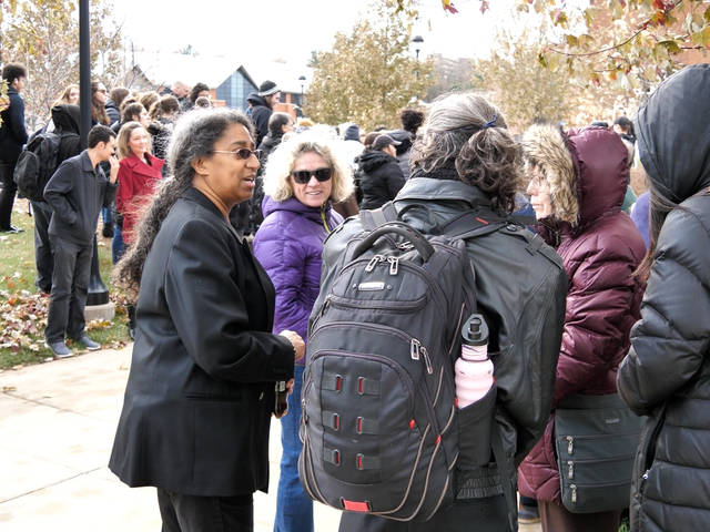 Students and faculty on campus mall for 2019 walkout protesting racist social media posts