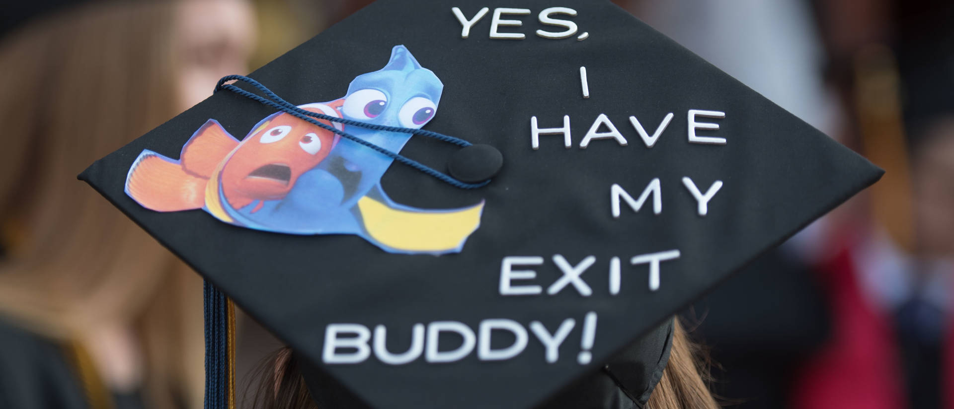 Graduation cap with Finding Nemo decoration and quote