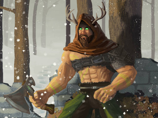 Digital painting of a norse figure