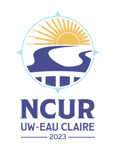 The UWEC NCUR logo, featuring the year 2023 and a bridge over water.