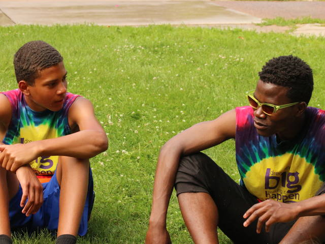 Olu Famule and Blugold Beginnings youth participant
