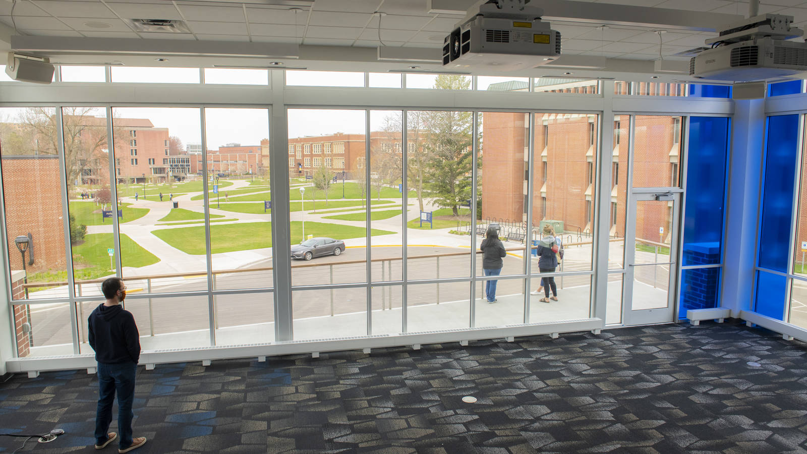 View from second floor of Welcome Cener, overlooks campus mall