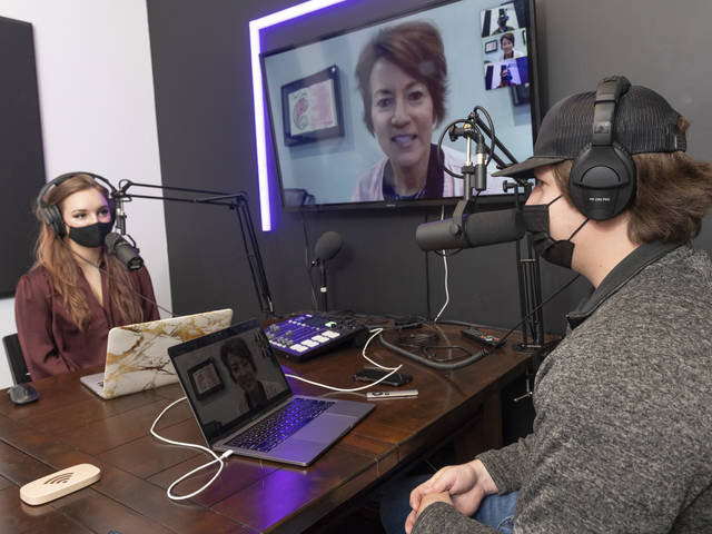 Alexa Cpery adn Ben Waller in a zoom podcast interview with Diane Wolfe of Eau Claire